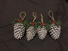 Pinecone rustic ornament silver Set of 4 by BoyMomSCreations