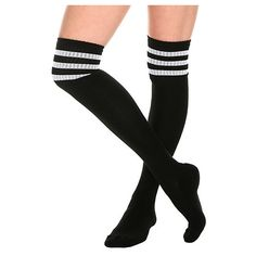 Black And White Cushioned Knee-High Crew Socks | Hot Topic ($6.99) ❤ liked on Polyvore featuring intimates, hosiery, socks, accessories, shoes, tights, socks/tights, acrylic crew socks, knee high hosiery and white and black socks