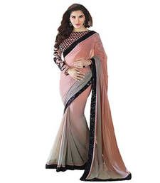 Buy Black Sequence Less & Pech and grey georgette saree georgette-saree online