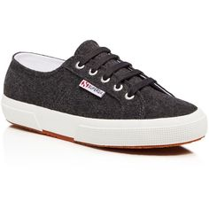 Superga Wool Lace Up Sneakers ($99) ❤ liked on Polyvore featuring shoes, sneakers, dark charcoal, lacing sneakers, superga, laced up shoes, lace up shoes and laced shoes