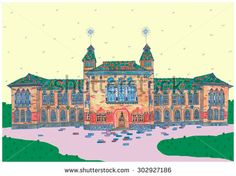 freehand drawing, architectural structures - stock photo