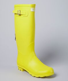 Look what I found on #zulily! Yellow Zipper Back Rain Boot by Forever Young Inc. #zulilyfinds