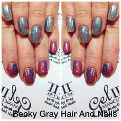 Gel II manicure forget me not with pryo pearl ontop and magpie glitter the entire spring collection ontop