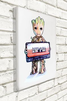 Original Art Inspired by Guardians of the Galaxy - Baby Groot - Wall Canvas - 12 inch x 16 inch - # Marvel Canvas Art, Marvel Art, Galaxy Drawings, Marvel Drawings, Cute Canvas Paintings, Hand Painting Art, Galaxy Painting, Galaxy Art, Baby Groot Tattoo