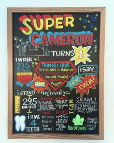 Super Cameron was born 11 weeks early and will be celebrating his first birthday in a few weeks! #chalkart #chalkboard #chalkmarkers #chalkboardart #birthdayboard #supermanthemedparty #superman #milestoneboard #superherothemedparty by jtbiggers