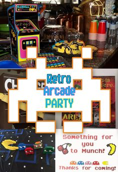 Retro arcade party ideas and free guest gift printable Video Game Party, Party Games, Star Citizen, Pac Man Party, Retro Arcade Games, Birthday Games, Birthday Ideas, 40th Birthday, Birthday Parties