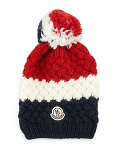 Moncler Cashmere Chunky Knit Pom Pom Hat Navy | Headwear and Accessory