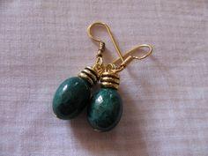 Handmade earring green quartz smooth stone by Chitrasjewelart, $14.00