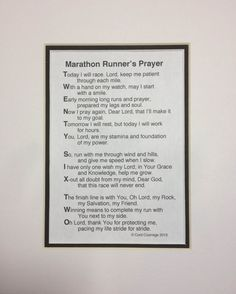 The Marathon Runner's Prayer