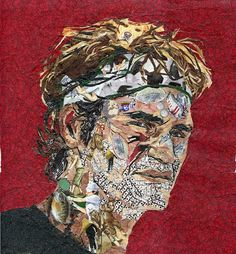 """""""Roger Federer -- The Complete Sportsman,"""" Mihira Karra [Free-hand sketching and then """"painting"""" with tiny pieces of fabric. Federer has many hobbies as a professional tennis player- soccer, skiing, golf, fishing, cards and music to name a few. He also has a favorite golden labrador.]"""