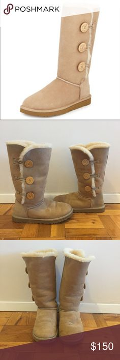 Tall UGG boots in Sand Tall UGG boots in sand with 3 exterior buttons. Worn but still in good condition! Size 9--I'm usually and 8 1/2 but these run slightly large because of the interior material. UGG Shoes Winter & Rain Boots
