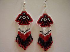 Native American Beaded Red and Black Thunder Bird Earrings