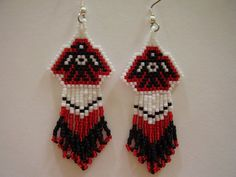 Native American Beaded Red and Black Thunder Bird Earrings