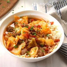 Cabbage Roll Stew Recipe -A head of cabbage seems like it never ends. Here's a delicious way to use it up. My husband is this stew's biggest fan. Slow Cooker Soup, Slow Cooker Recipes, Beef Recipes, Cooking Recipes, Crockpot Meals, Chilli Recipes, Slow Cooking, Cooking Ideas, Fall Recipes
