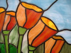 California Poppy Flowers Stained Glass by StainedGlassArtist, $139.00