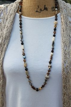 Long Beaded Necklace, Brown Hand knot Jewelry, by KnottedUp, Hand Made one of a kind Statement Jewelry by KnottedUpJewelry, $104.96 USD Jewelry Knots, Boho Jewelry, Beaded Jewelry, Knot Necklace, Beaded Necklaces, Jewellery Storage, Statement Jewelry, Boho Chic, Beading