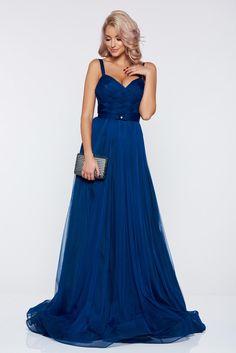 Ana Radu blue evening dresses dress with braces accessorized with tied waistband, embellished accessories, accessorized with tied waistband, back zipper fastening, inside lining, net
