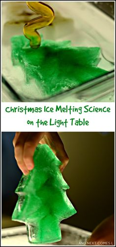 Christmas sensory science on the light table - melting frozen trees and bells.