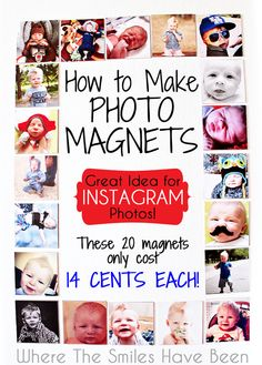 How to Make Photo Magnets: An Easy & Inexpensive DIY! This is such a great way to use Instagram photos, and it would make an awesome gift idea! Oh, and instead of buying them for around $4 each, make them yourself for just pennies!