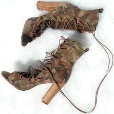 Lace Up Camo Chunky Heels