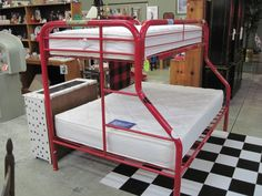 Red Metal Twin over Full Bunk - Comes with Free Mattresses