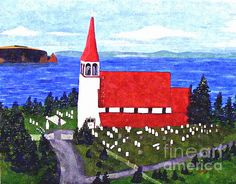This old church in Portugal Cove-St. Philip's, Newfoundland, was about to be torn down but citizens have saved it as a heritage site. It was built in 1894. Vandals have knocked over the bell tower and it has not yet been replaced. Find out more about this beautiful heritage site by visiting the website saveoursteeple dot ca (use no spaces). Prints from the original painting are available in my Buildings gallery or Sold Paintings gallery.