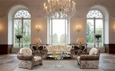 Castle style, living room, sofa, lights, interior design