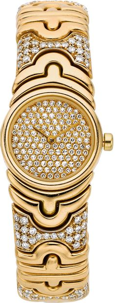 Bvlgari Lady's Diamond, Gold Parentesi Wristwatch Case: mm round, gold, pressure sealed case back, - Available at 2014 December 9 - 10 Holiday. Fine Watches, Ladies Watches, Fashion Jewelry, Women Jewelry, Diamonds And Gold, Bvlgari, Turquoise Jewelry, Luxury Jewelry, Fashion Watches