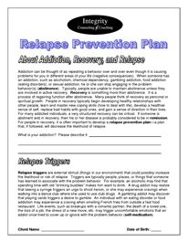 Printables Relapse Prevention Plan Worksheet relapse prevention and therapy worksheets on pinterest plan doc