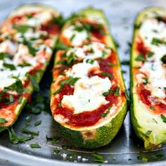 Stuffed Zucchini With Goat Cheese and Marinara 21 Filling Low-Carb Recipes With No Meat Low Carb Vegetarian Recipes, Healthy Grilling Recipes, Vegetable Recipes, Low Carb Recipes, Cooking Recipes, Cheesy Recipes, Meat Recipes, Delicious Recipes, Venison Recipes
