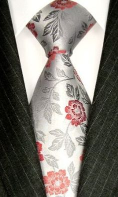 LORENZO CANA Luxury Tie Jacquard Woven Italian Silk Handmade Necktie Ties - Red Floral Pattern: simple and great!