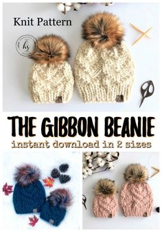 The Gibbon Beanie, a beautiful textured chunky knit hat pattern in 2 sizes, perfect for mommy and me knit hats! These knit up quickly with super bulky yarn! Great for markets! Check out the lovely chunky knit hat patterns! Baby Hats Knitting, Easy Knitting, Knitting For Beginners, Knitting Patterns Free, Knitting Yarn, Knitted Hats, Knit Baby Patterns, Vintage Crochet Patterns, Vogue Knitting
