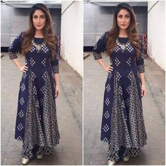 Kareena kapoor khan wearing indigo kurta - pallazo. visit Ethnico for bollywood's latest fashion updates- http://www.ethnicoapp.com/tag/bollywood