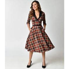 Unique Vintage 1950s Style Red Plaid Three-Quarter Sleeve Trudy Swing... (£73) ❤ liked on Polyvore featuring dresses, red plaid dress, red dresses, plaid dress, red a line dress and red vintage dress