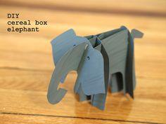 Pink Stripey Socks: Crapty cardboard cereal box elephant