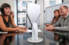 KUBI.me - a CrowdFunded product from Indiegogo and Revolve Robotics.  A great way to join meetings remotely and be fully engaged.  Control the direction and angle of an iPad remotely during a video conference.