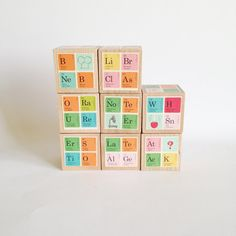 Large children's Blocks. Science lover. Chemistry. Periodic table of elements. Kids. Baby. Nursery decor. Unique baby gift. Baby shower.