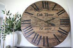 High quality, solid wood clocks made in the USA. Handmade Clocks, Pine Walls, Wood Clocks, Dark Brown, Solid Wood, Free Shipping, Home Decor, Decoration Home, Room Decor