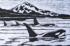 Orca in Black and White - Original Linocut Print on Etsy, $64.99