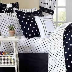 Lexi has this black and white comforter with pink and white polka dot sheets! - This is what the previous pinner put. My Lexi has this same sheet set with a solid black comforter with Cheetah accent lol Polka Dot Bedroom, Polka Dot Bedding, White Bedroom, White Sheets, White Cottage, Sheet Sets, Bed Sheets, Polka Dots, Bedroom Decor