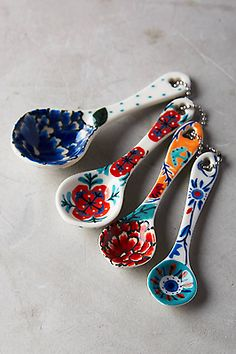 NWT Anthropologie Delphina Measuring Spoons Floral Flowers  in Home & Garden, Kitchen, Dining & Bar, Kitchen Tools & Gadgets | eBay