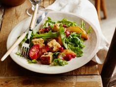 Cooking Channel serves up this Arugula and Roasted Fruit Salad with Panettone Croutons recipe from Giada De Laurentiis plus many other recipes at CookingChannelTV.com