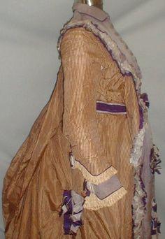 Regal 1870 1880 Stripe Gold Lavender Silk Bustle Dress