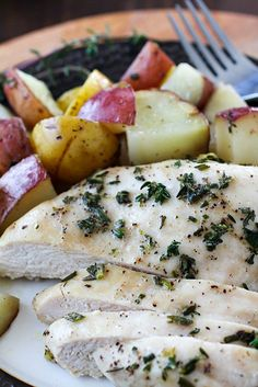 One Pan Herb Baked Chicken and Potatoes. 19 great recipes in this post that are pork and alcohol free – they're also naturally gluten-free making a few great meal ideas for those who have dietary restrictions.