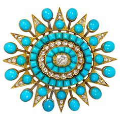 Antique Turquoise Diamond Gold Starburst Brooch. An antique turquoise and diamond starburst brooch with pendant fitting, in 18k gold. c 1875