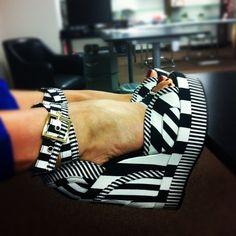 fantastic platform shoes black and white stripes