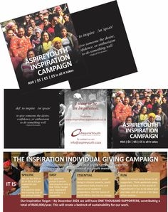 100mm x 100mm information brochure for the Aspire Youth Inspire Campaign 2020