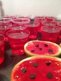 These jello shooters are easy to make!  I used small limes and cut them in half, then scooped out the inside and filled it with jello mix and coconut rum. Place in the fridge and once the jello starts to harden,  then place some mini chocolate chips on top. Refrigerate for 3-4 hours. Shoot!