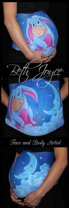 Baby Eeyore Belly Painting. My favourite Winnie the Pooh Character. Baby Shower ideas. Nursery theme idea. Pregnant Belly Painting. Best job in the World! Follow me on Facebook https://www.facebook.com/bethjoycefaceandbodyartist/