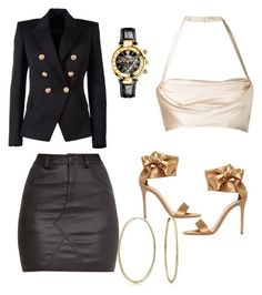 Guilty as Gold by charlemagnethomas on Polyvore featuring polyvore, fashion, style, Balmain, Dolci Follie, Gianvito Rossi, Versace, Bling Jewelry and clothing